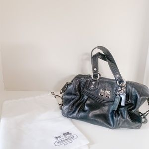 Coach Madison Black Leather Satchel with dust bag